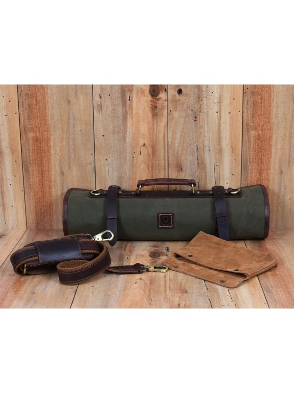 Malaga Canvas Knife Roll - Green