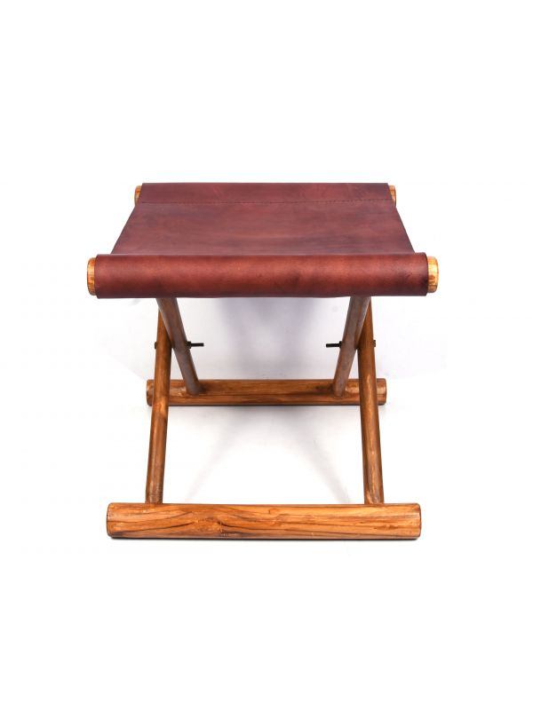 Miami Teak Wood Stool - Dark Brown Leather