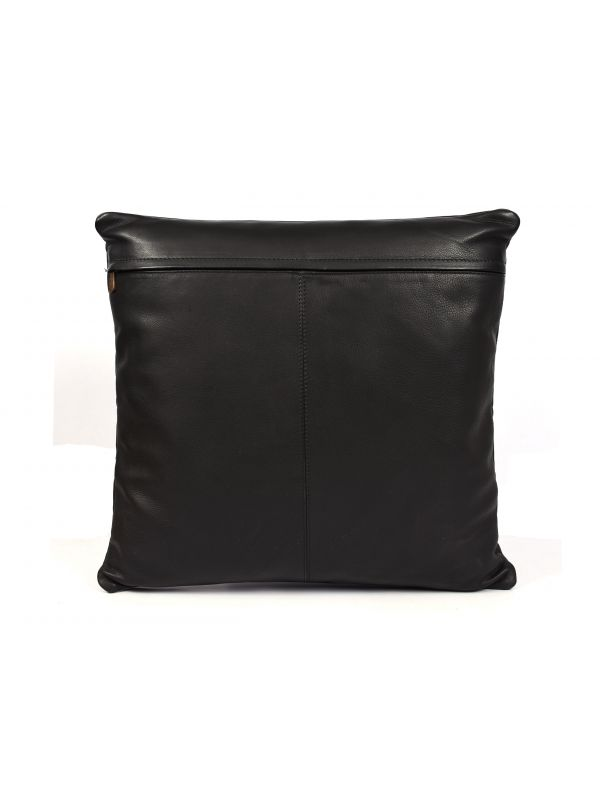 Baltimore Leather Pillow Cover - Raven Black