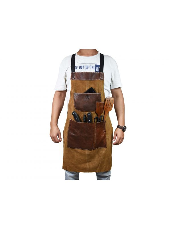 Florence  Suede Apron - Light Brown