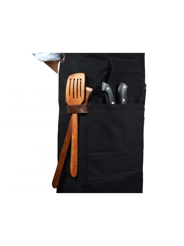Turin Waxed Canvas Apron - Raven Black
