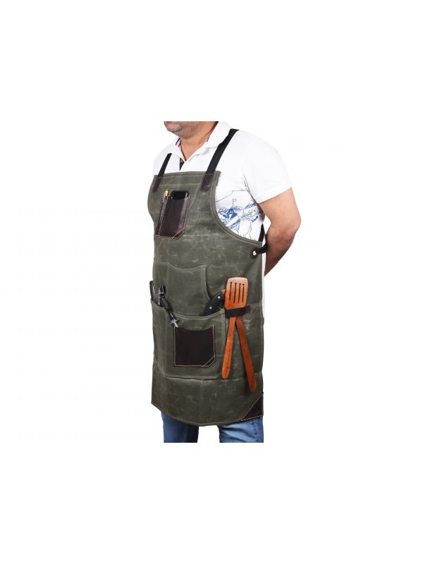 Turin Waxed Canvas Apron - Distressed Green