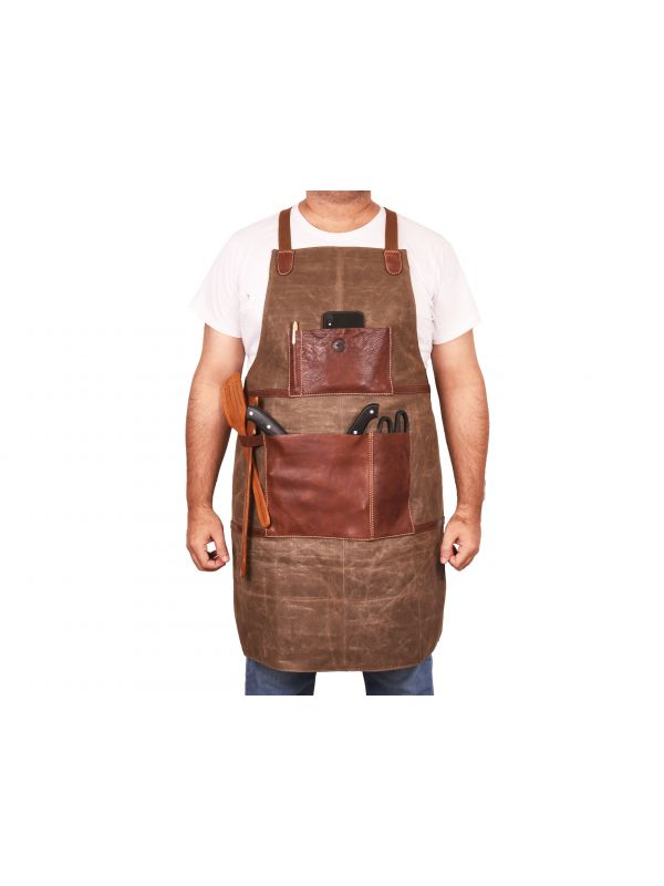 Leon Waxed Canvas Apron - Seaweed Green