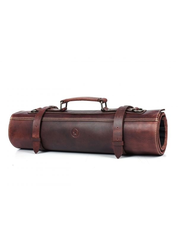 Tuscania Leather Knife Roll & Bag Combo - Dark Brown