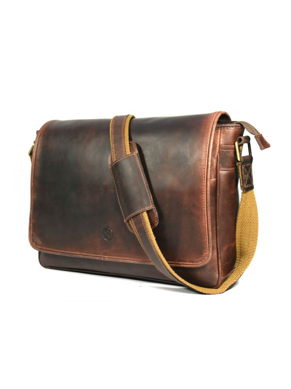 Savona Leather Messenger Bag - Walnut Brown