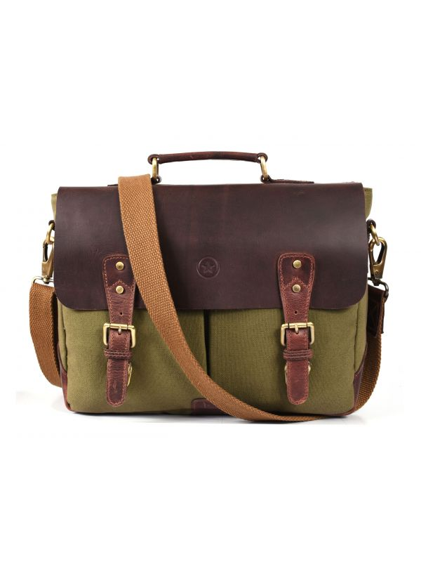 Prato Canvas Messenger Bag - Seaweed Green