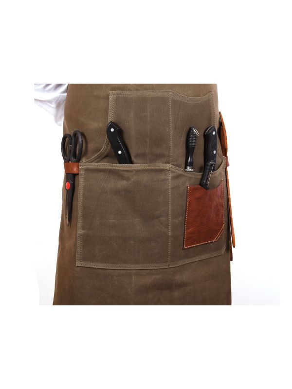 Turin Waxed Canvas Apron - Pickle Green