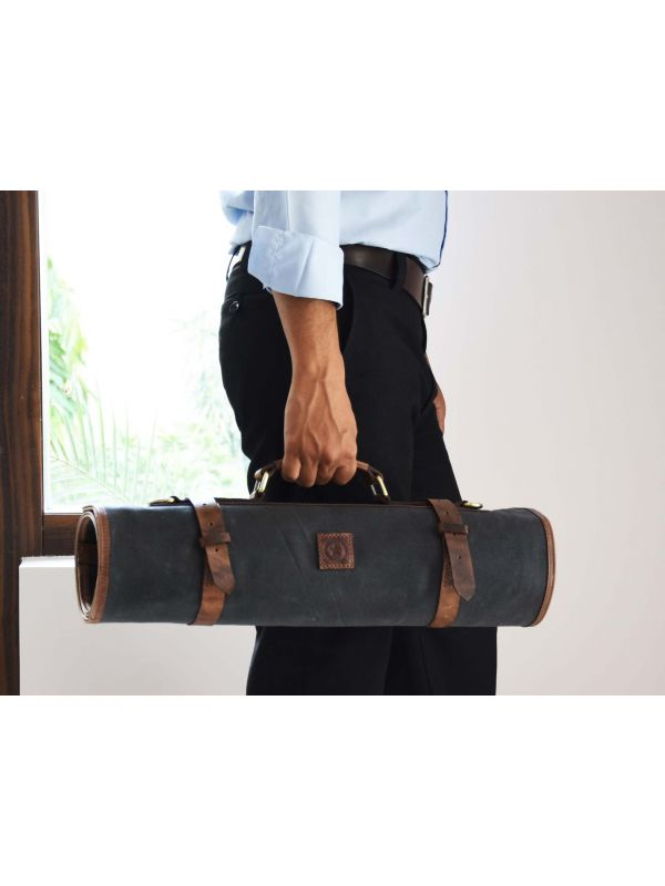 Malaga Canvas Knife Roll - Distressed Grey