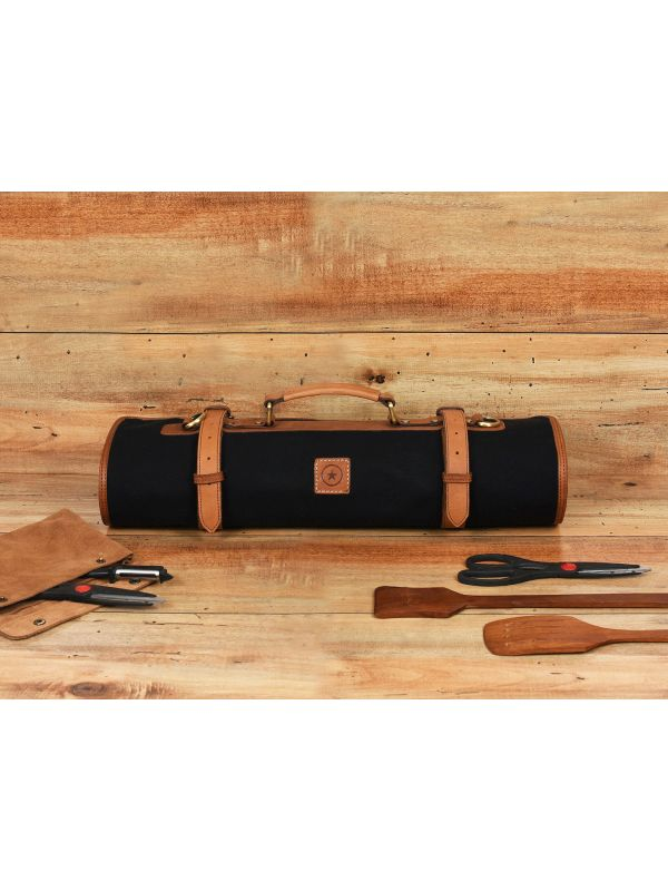 Malaga Canvas Knife Roll - Raven Black