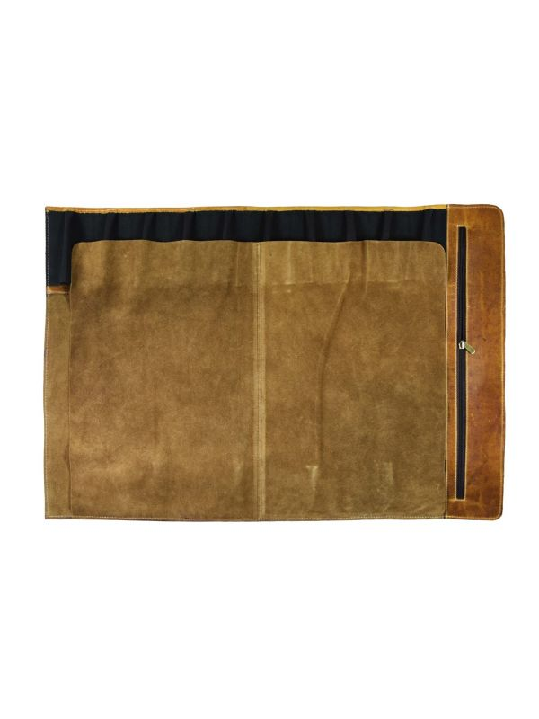 Tuscania Leather Knife Roll - Caramel Brown