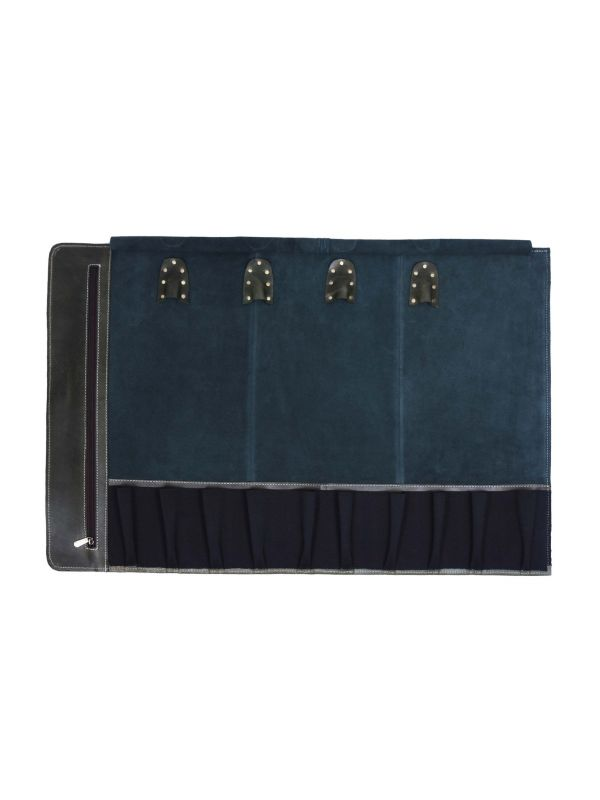 Tuscania Leather Knife Roll - Green