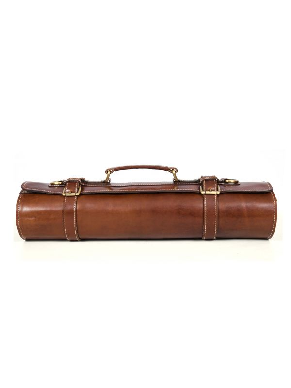 Tuscania Leather Knife Roll - Penny Brown