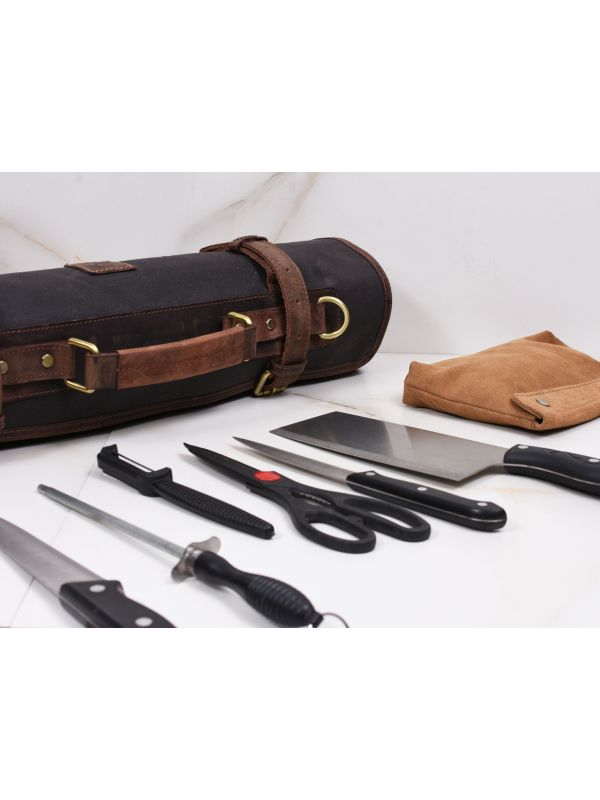 Malaga Canvas Knife Roll - Grey