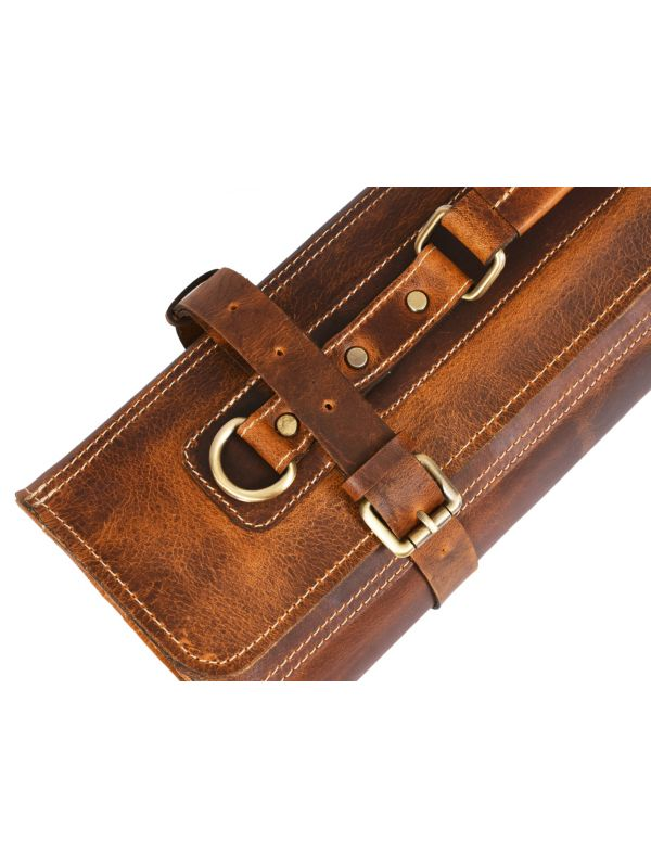 Vicenza Leather Knife Roll - Caramel Brown