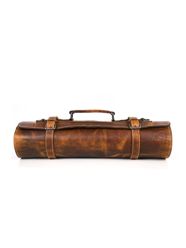 Vicenza Leather Knife Roll & Bag Combo - Tawny Brown