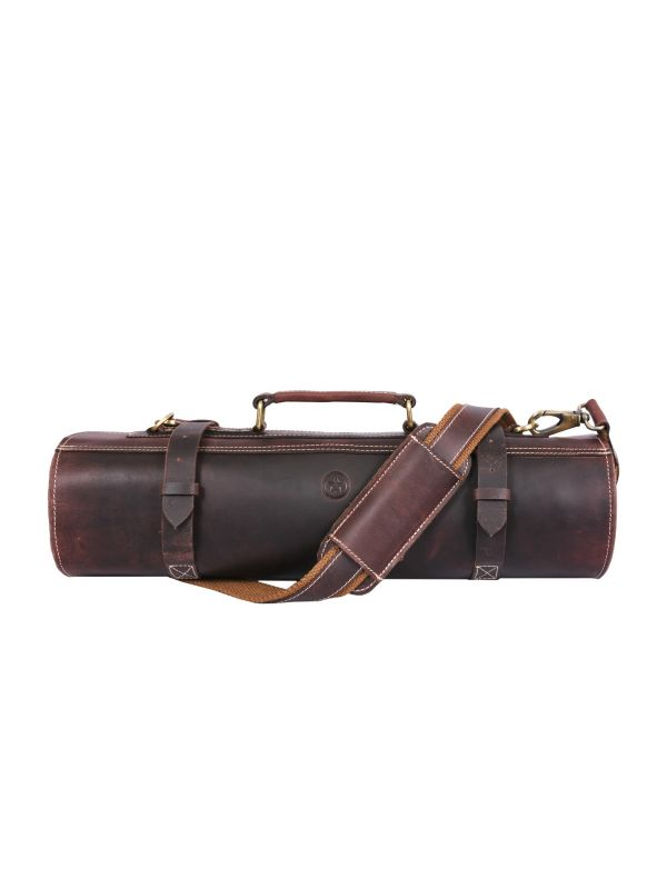 Vicenza Leather Knife Roll - Walnut Brown