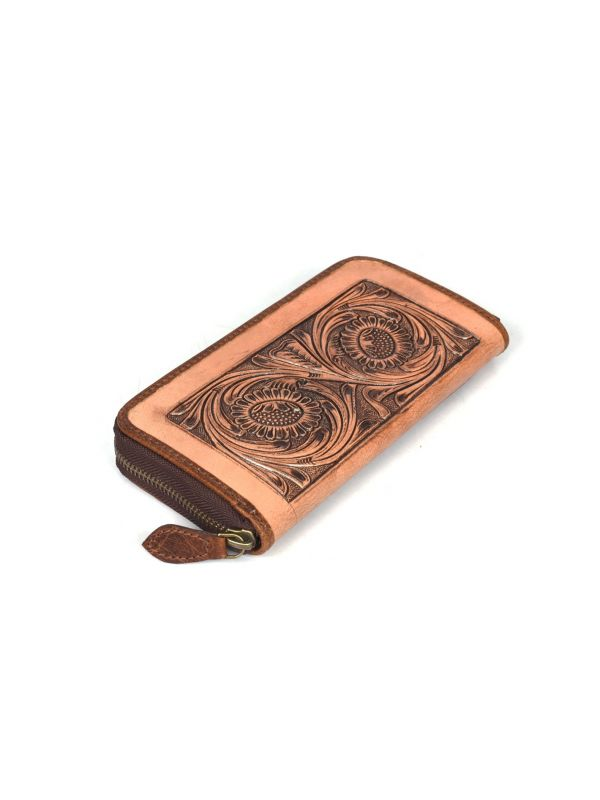 Limoges Hand Tooled Leather Clutch