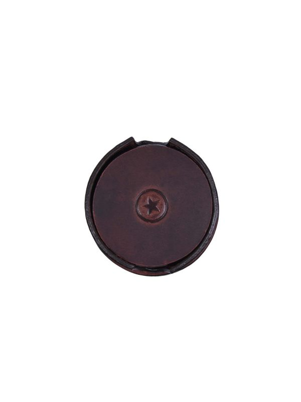 Cannes Leather Coaster - Walnut Brown