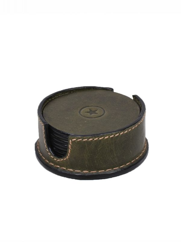 Cannes Leather Coaster - Green
