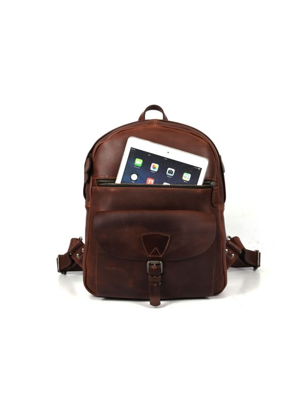 Marseille Leather Backpack – Walnut Brown