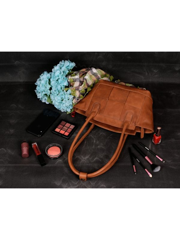 Soria Leather Tote Bag - Caramel Brown
