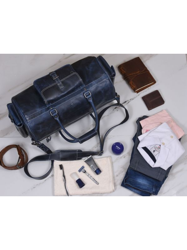 Pamplona Leather Duffle Bag - Royal Blue
