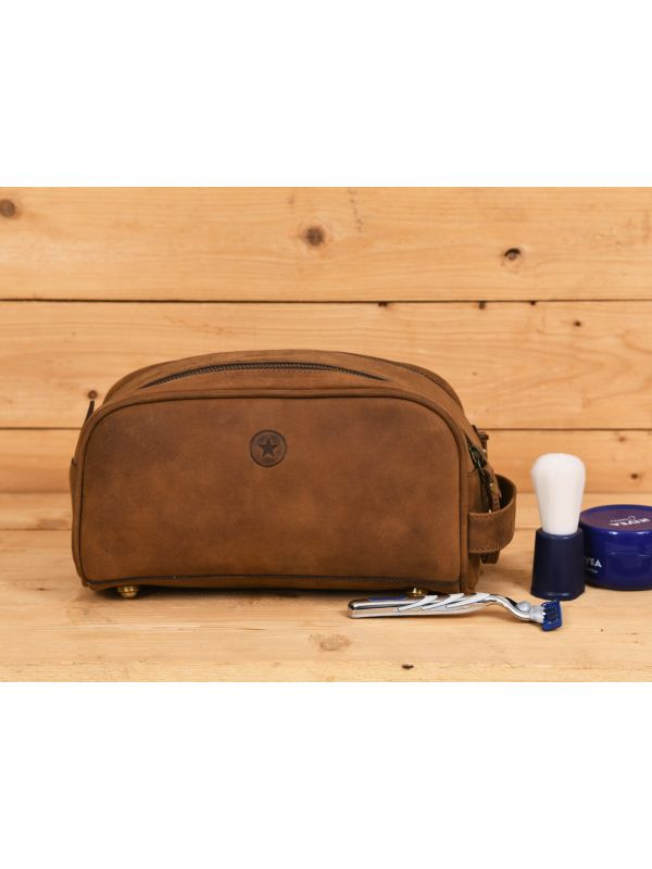Omaha Leather Toiletry Bag - Tortilla Brown