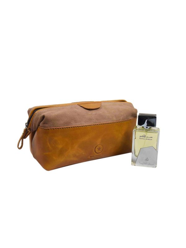 Valencia Canvas Leather Toiletry Bag - Caramel Brown
