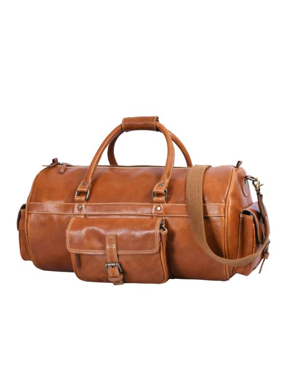 Pamplona Leather Duffle Bag - Chestnut