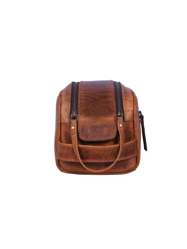 Omaha Leather Toiletry Bag - Caramel Brown