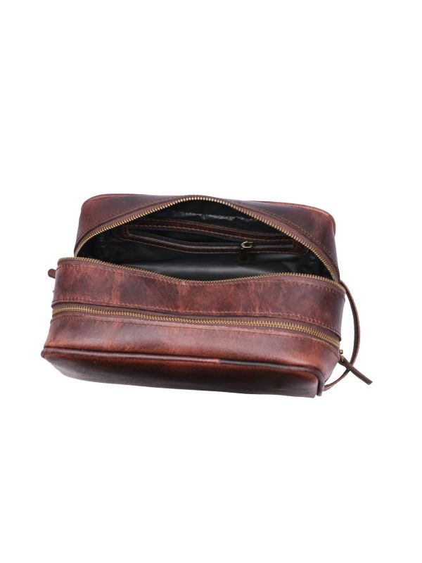 Tampa Leather Toiletry Bag - Walnut Brown