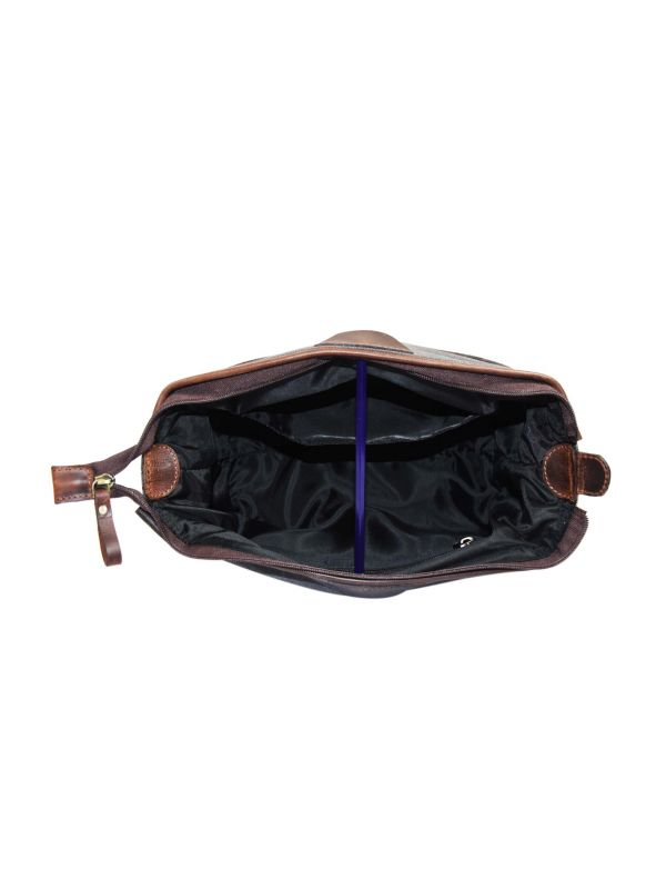 Valencia Canvas Leather Toiletry Bag - Vintage Brown