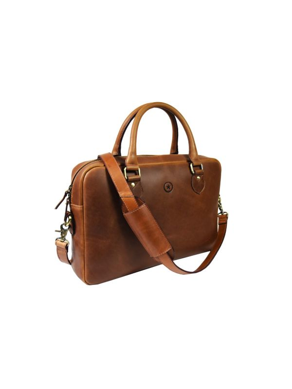 Madison  Leather Office Bag - Lux Tan