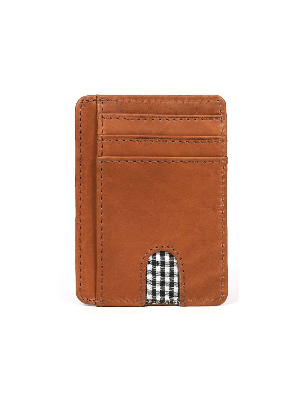 Utrera Leather Credit Card Holder - Chestnut