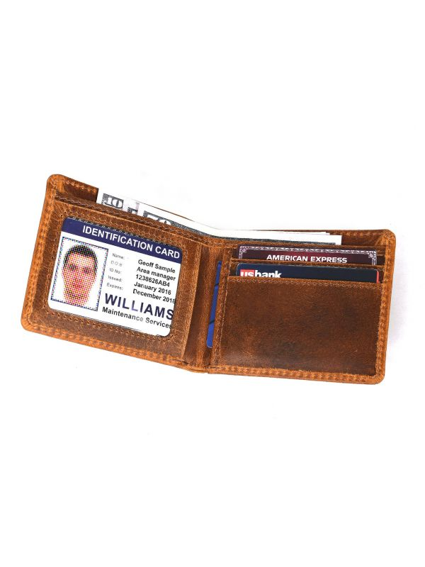 Osuna Mens Leather Wallet - Caramel Brown