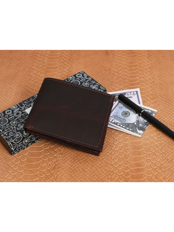 Montilla Leather Bifold Mens Wallet - Walnut Brown