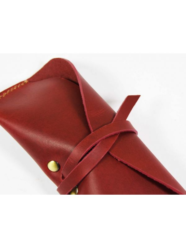 Nantes Leather Eyewear Case - Distressed Red