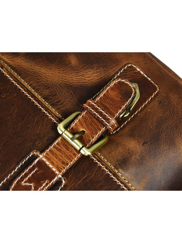 Utopia Leather Office Bag - Caramel Brown