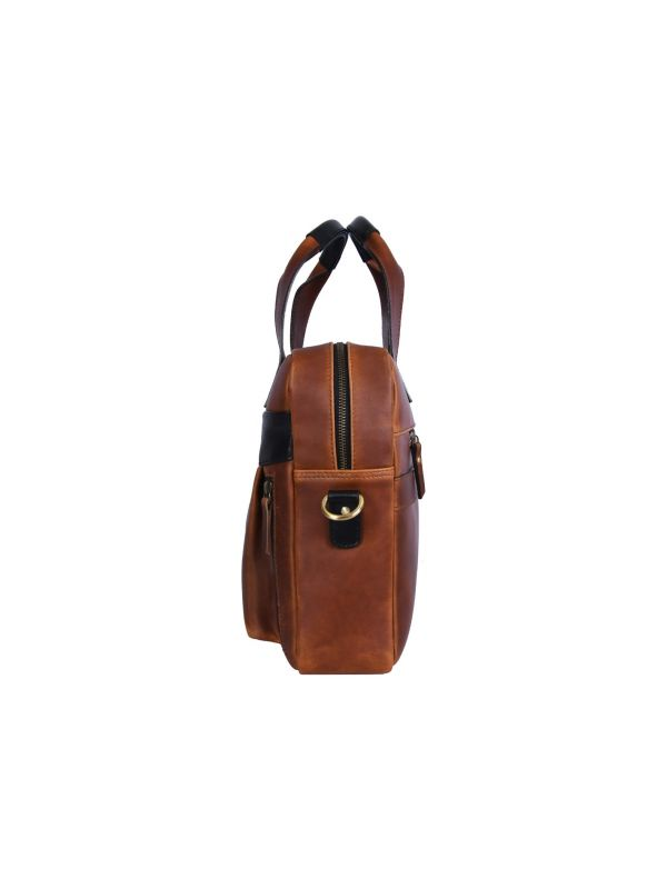 Brooklyn  Leather Office Bag - Lux Tan