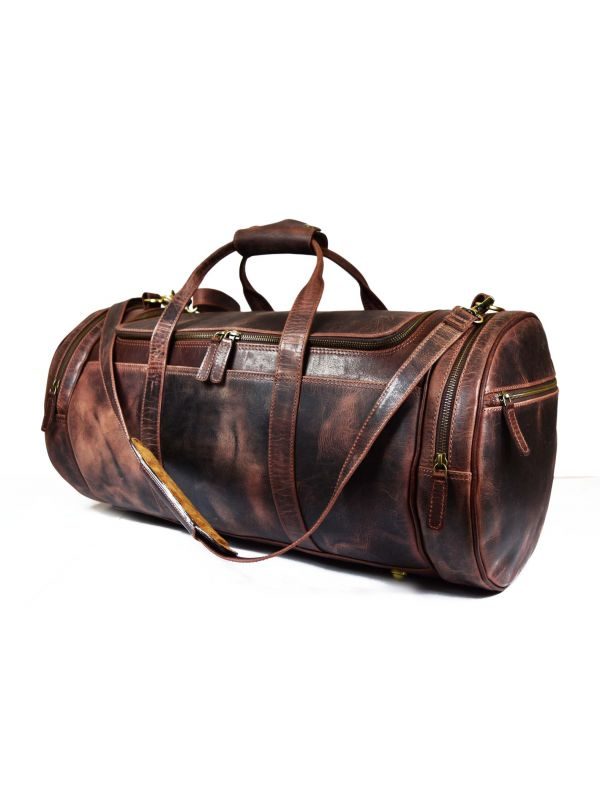 Cordoba Leather Barrel Bag - Walnut Brown