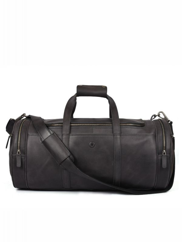 Cordoba Leather Barrel Bag - Raven Black