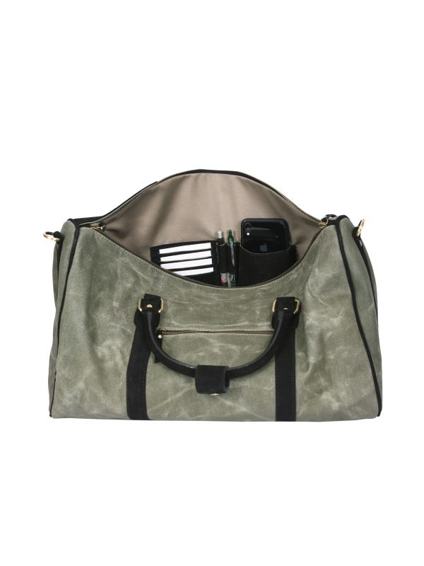 Sevilla Leather Canvas Travel Bag - Distressed Green