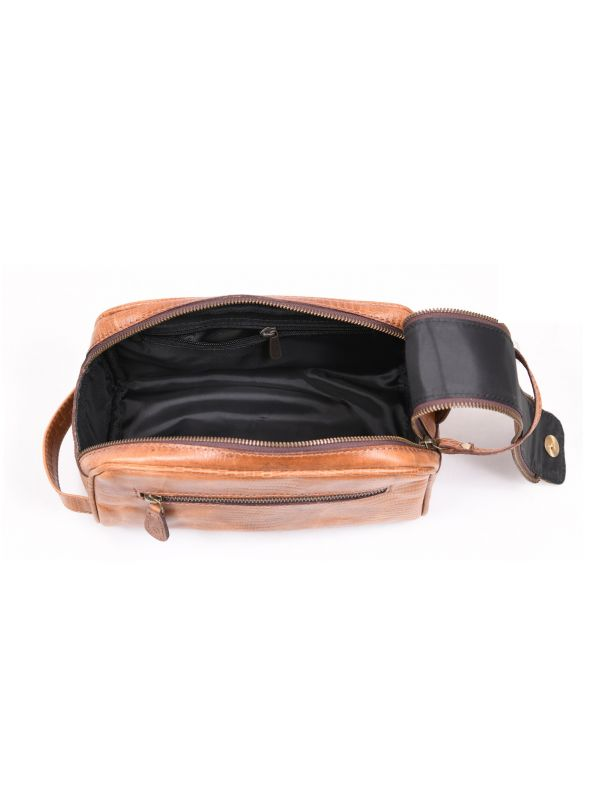 Omaha Leather Toiletry Bag - Copper Brown