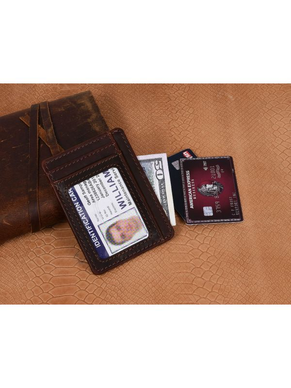 Utrera Leather Credit Card Holder - Walnut Brown