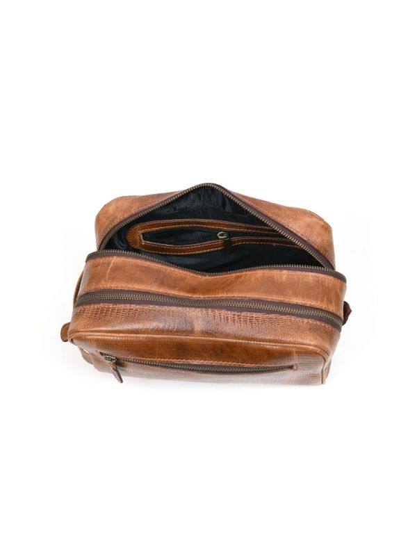 Tampa Leather Toiletry Bag - Copper Brown