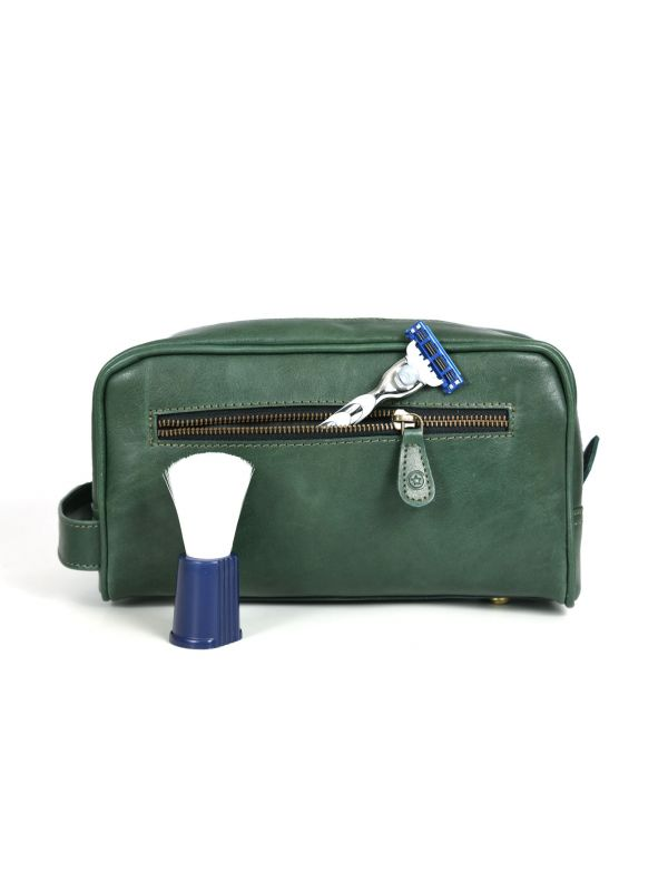 Tampa Leather Toiletry Bag - Fossil Green
