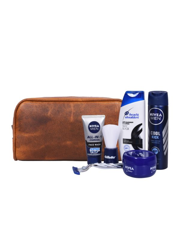 Tampa Leather Toiletry Bag - Caramel Brown