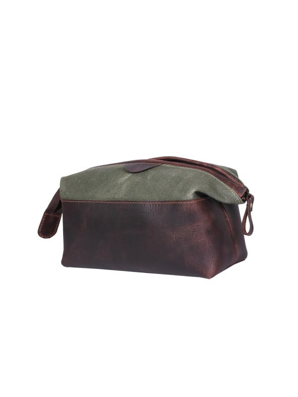 Valencia Canvas Leather Toiletry Bag - Distressed Green