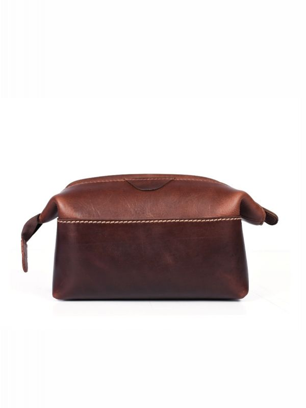 Normandy Leather Toiletry Bag – Walnut Brown