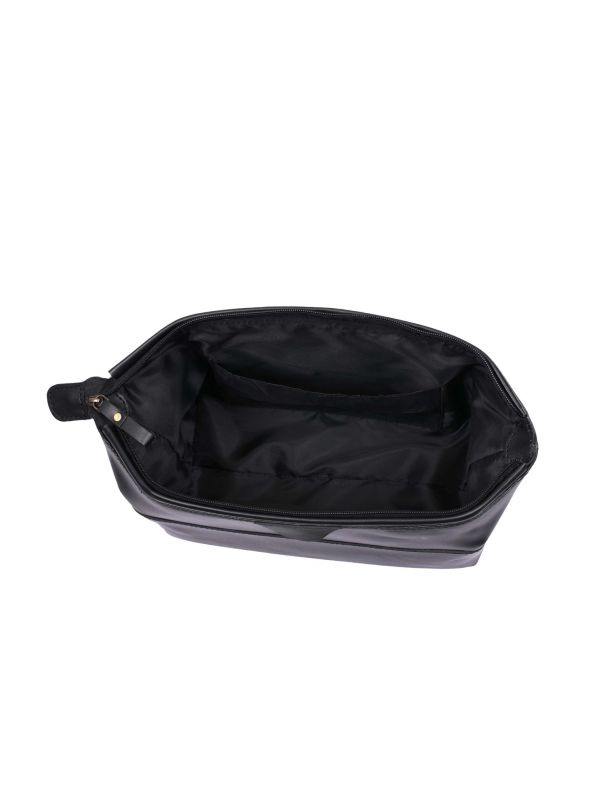 Normandy Leather Toiletry Bag - Raven Black
